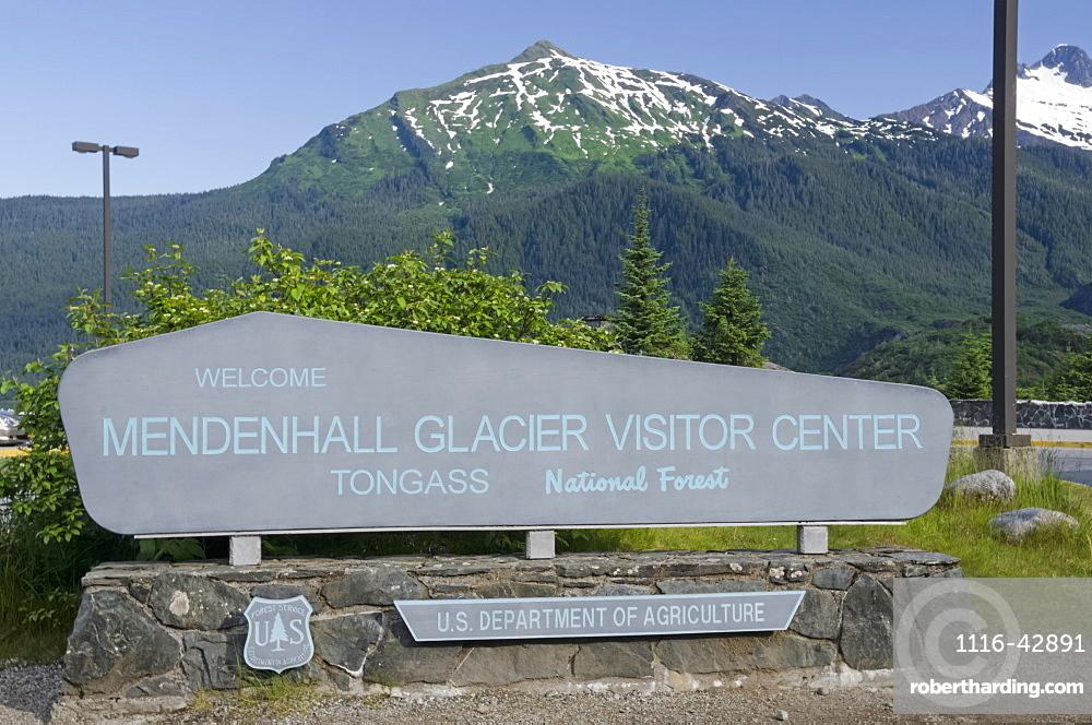 Mendenhall Glacier Visitor Centre Sign At Mendenhall Glacier, Tongass National Forest, Near Juneau, Alaska, United States Of America