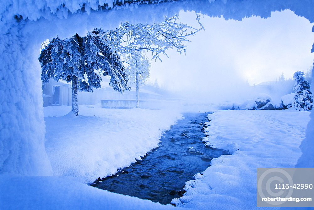 Steams From The Hot Springs Run Off In Sub Zero Winter, Chena Hot Springs Resort, Fairbanks, Alaska, United States Of America