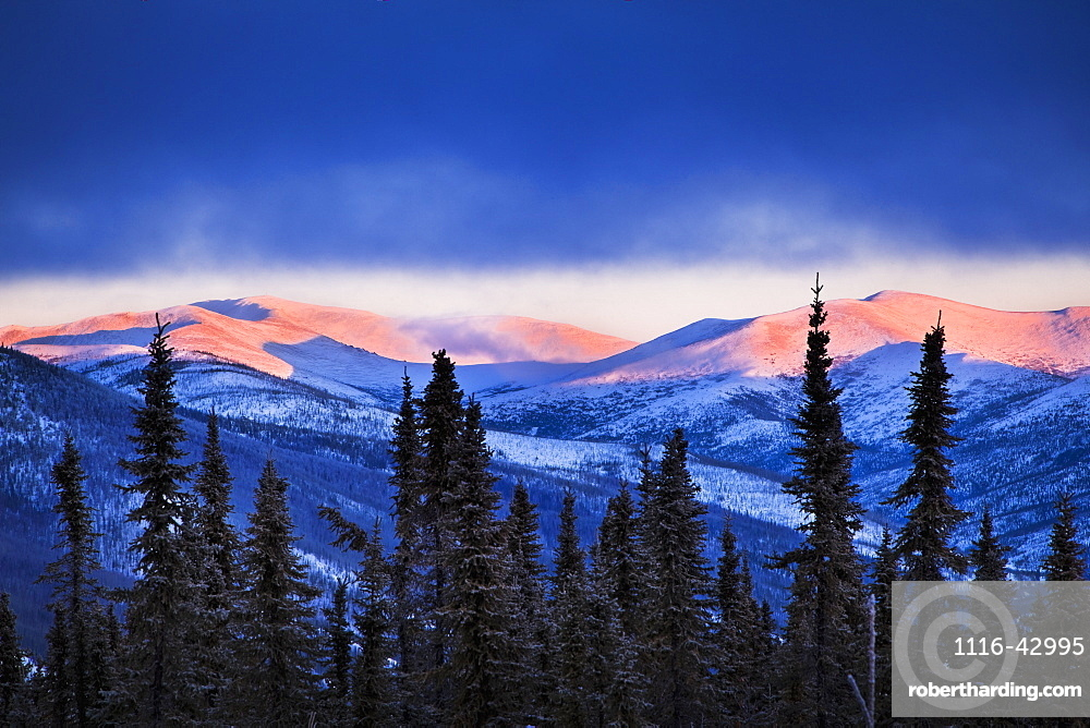 Sunset Grows On The Mountains In Winter, Chena River State Recreation Area, Fairbanks, Alaska, United States Of America