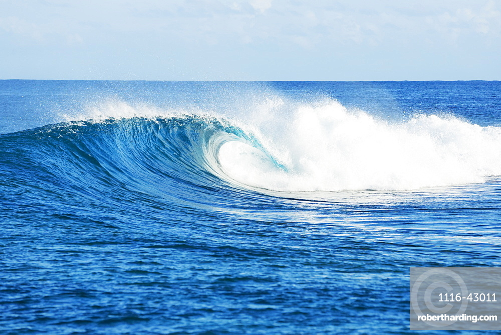 Perfect Empty Waves Break In Tropical Ocean In The South Pacific, Tahiti, French Polynesia