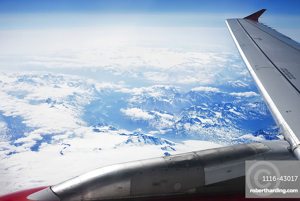 Window View From Airplane While Departing Anchorage, Anchorage, Alaska, United States Of America