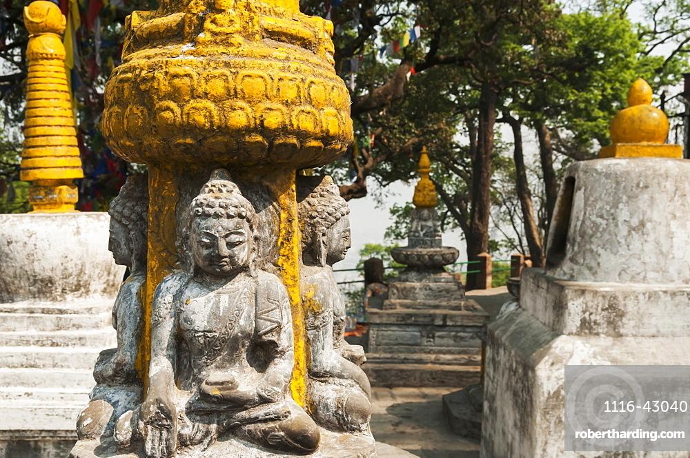 Some Sculptures Of Buddha In Swayambhu Temple, Kathmandu, Nepal
