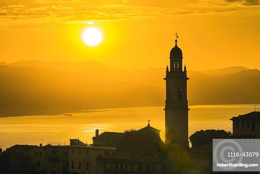 Golden Sky At Dusk With Tower Of Church, San Lorenzo Della Costa, Liguria, Italy