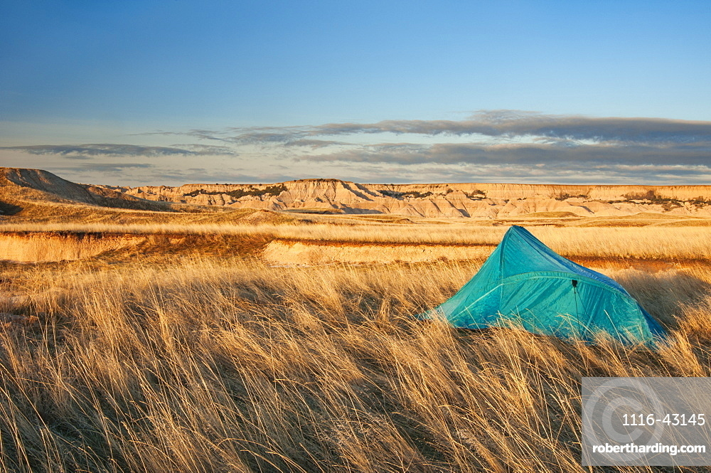 Tent At Camp Site In Sage Creek Wilderness Area, Badlands National Park, South Dakota, United States Of America