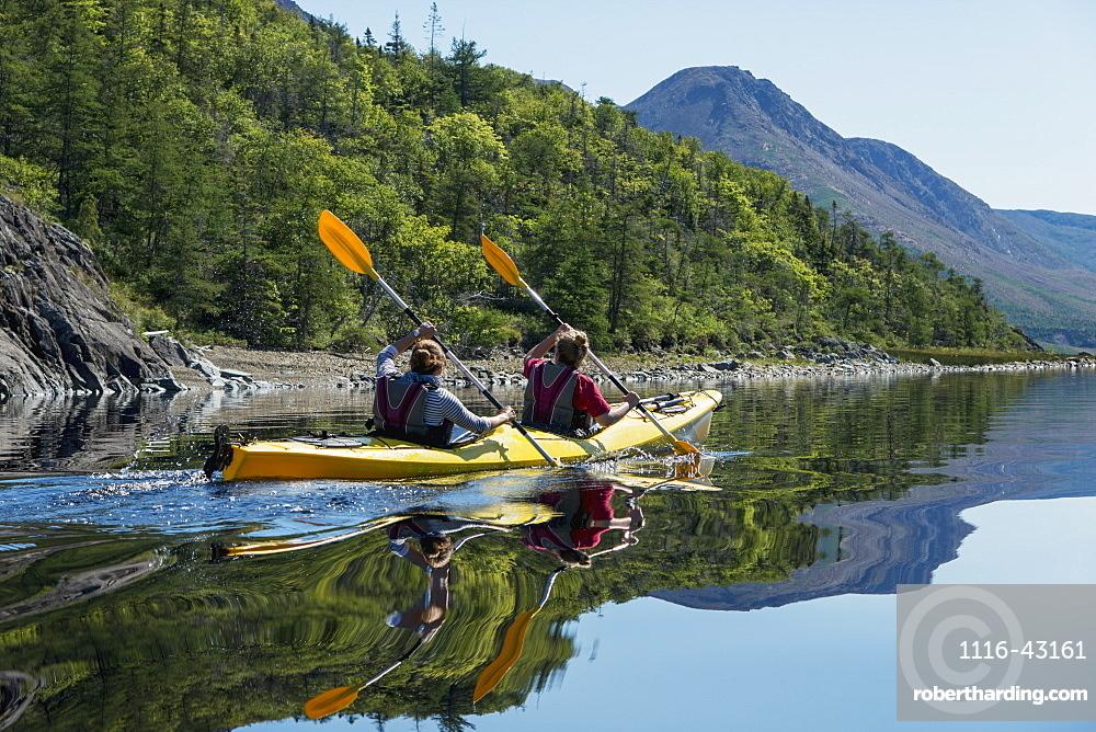 Kayaking In Gros Morne National Park, Trout River, Newfoundland, Canada