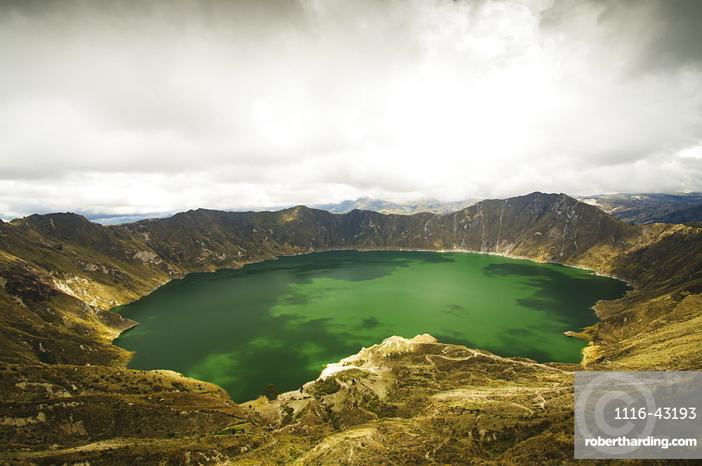 View Of A Lagoon With Green Water, Quilotoa, Cotopaxi, Ecuador