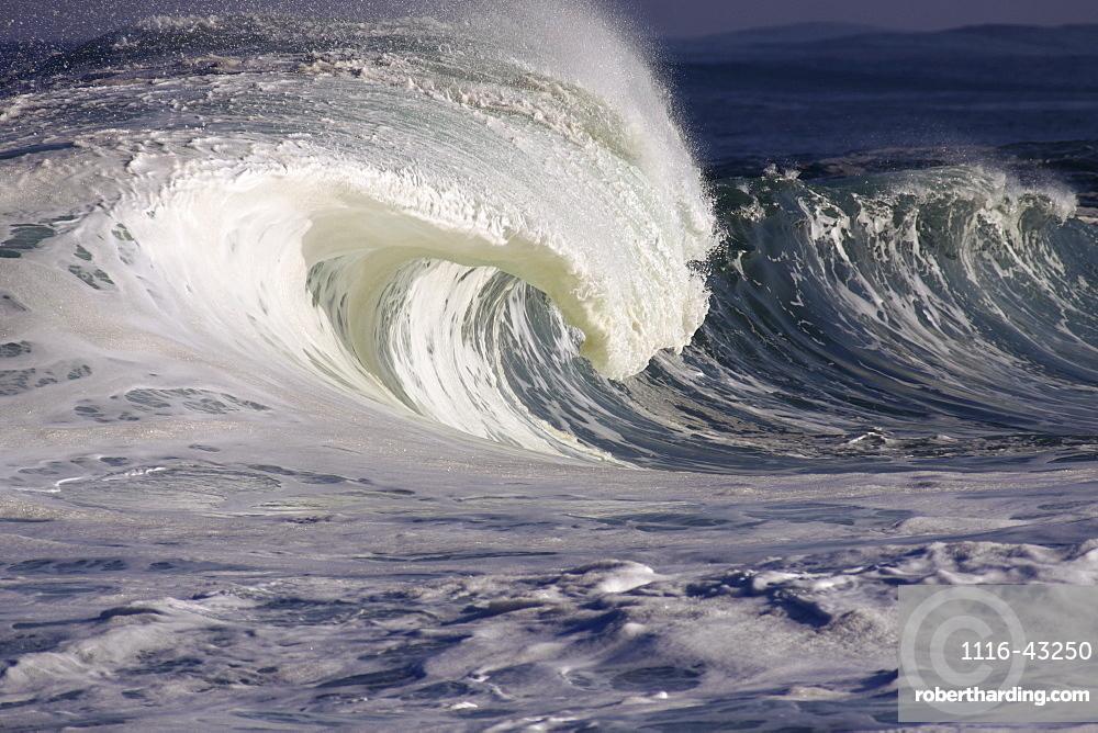 Hawaii, Oahu, Large Powerful, White Wave On Northshore.