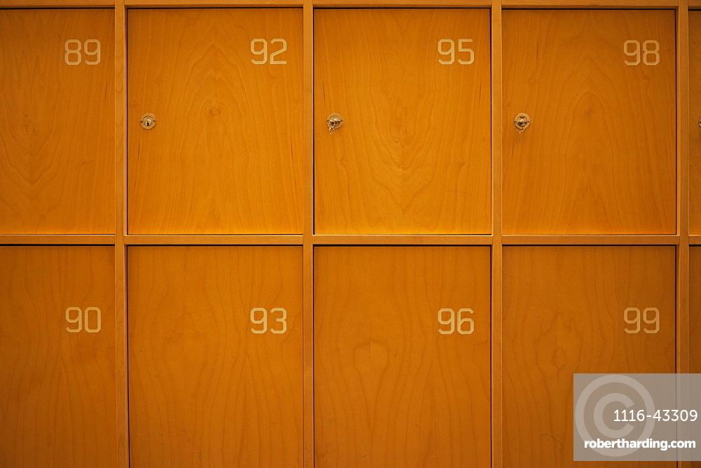 Numbered Wooden Lockers, Stockholm, Uppland, Sweden