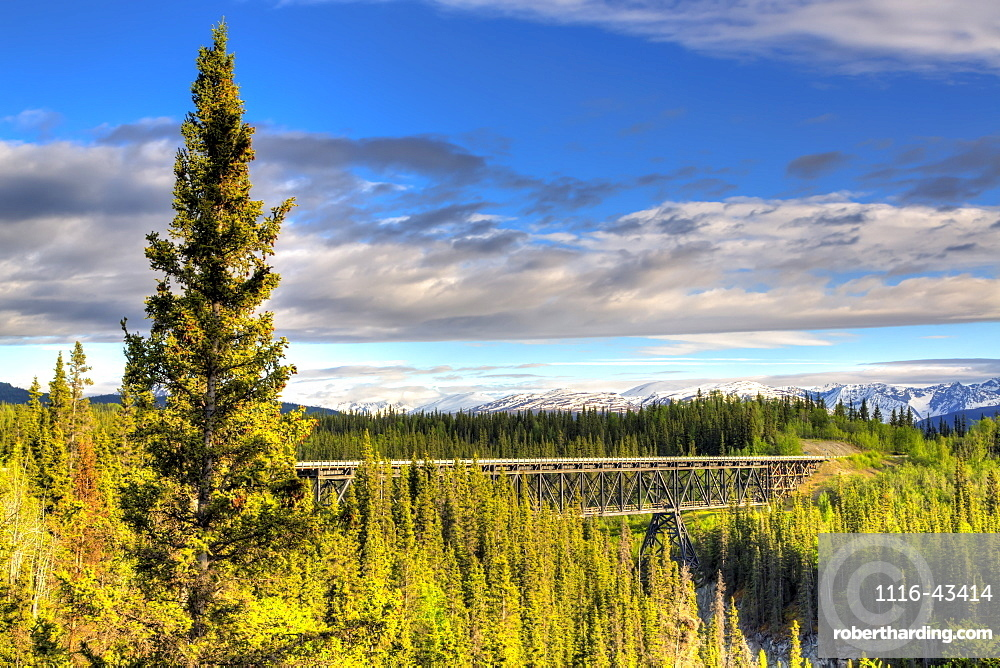 Scenic View Of The Kuskulana River Bridge On Mccarthy Road In Wrangell-St. Elias National Park And Preserve, Alaska, United States Of America