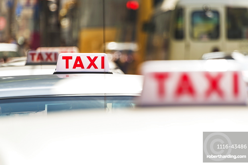 Taxis Waiting, Kowloon, Hong Kong, China