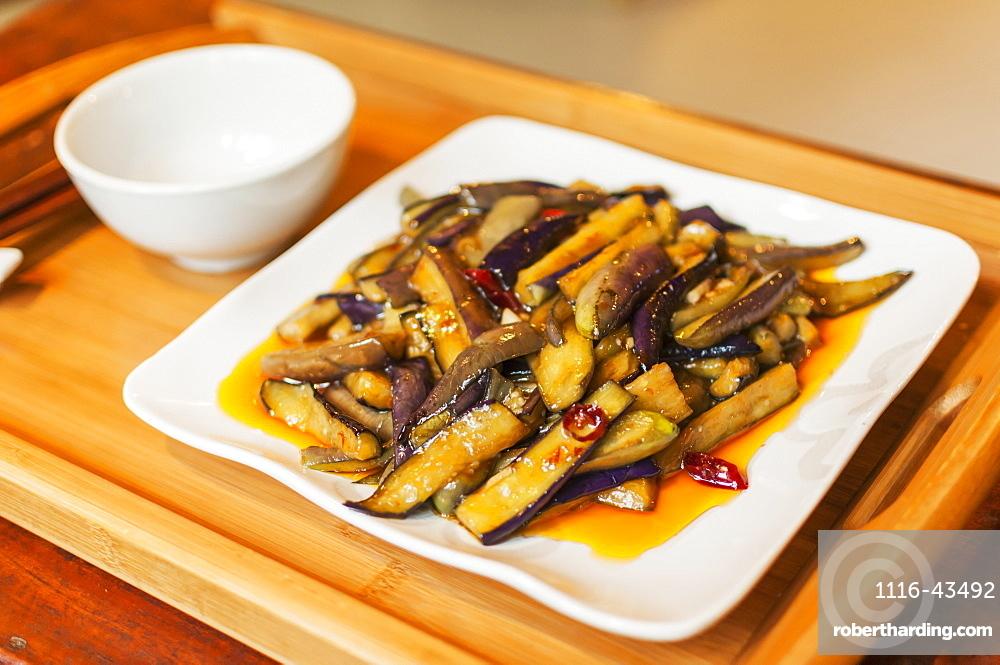 Chinese Braised Eggplants, Wuhan, Hubei Province, China