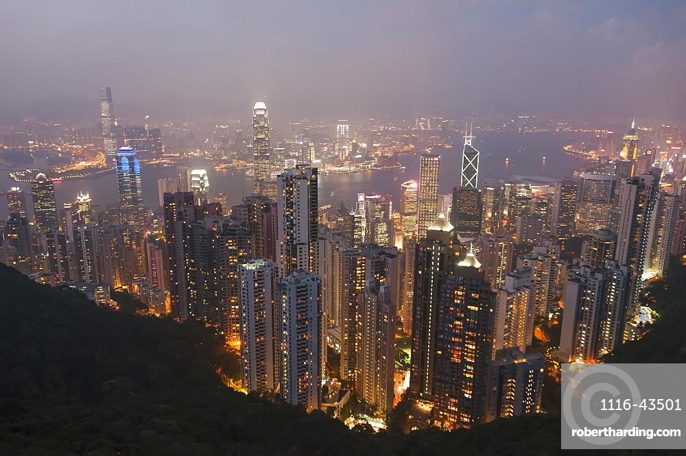 View From Victoria Peak Of The Island Of Hong Kong At Night, Hong Kong, China