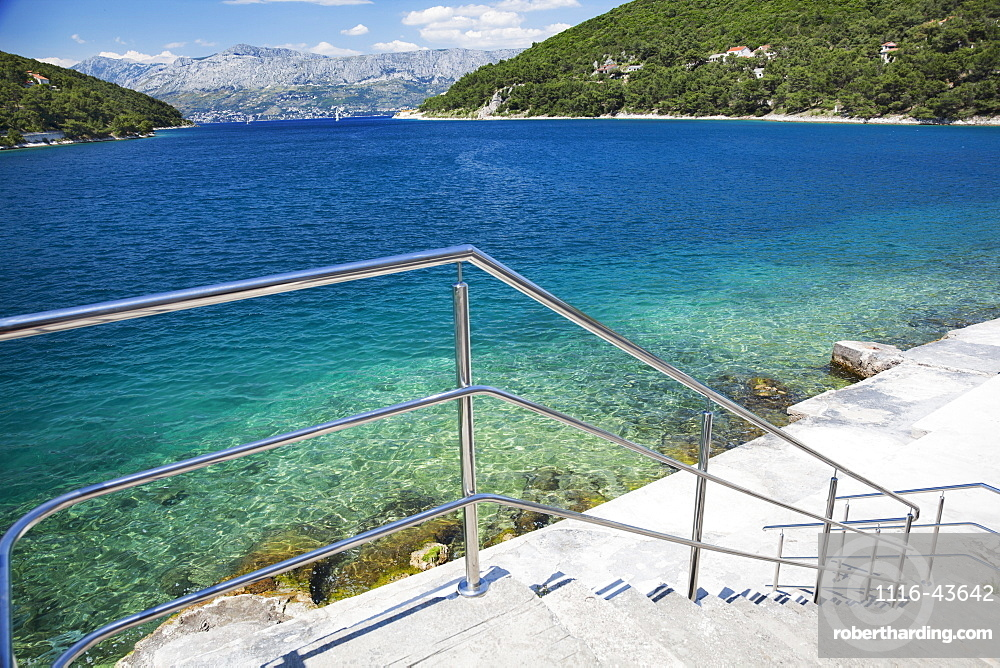 Steps To A Platform For Swimming In The Adriatic Sea, Pucisca, Brac, Croatia