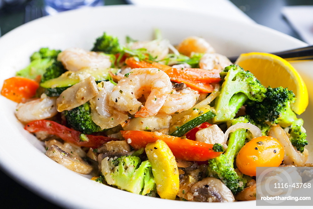 Seafood Dish With Vegetables, Massachusetts, United States Of America