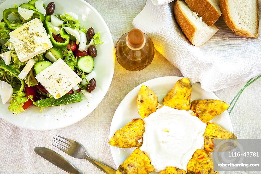 Traditional Greek Meal, Lasithi Plateau, Crete, Greece