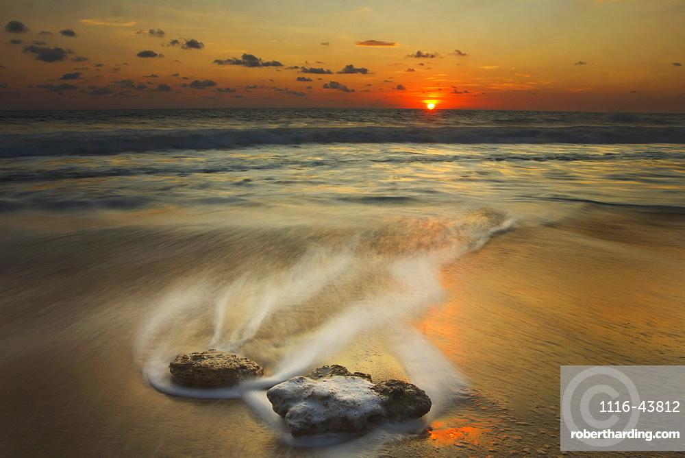 Waves Over Rocks On The Beach At Sunset, Mazatlan, Mexico