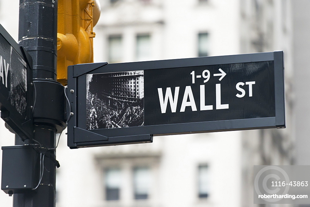 Street Sign For Wall Street, New York City, New York, United States Of America