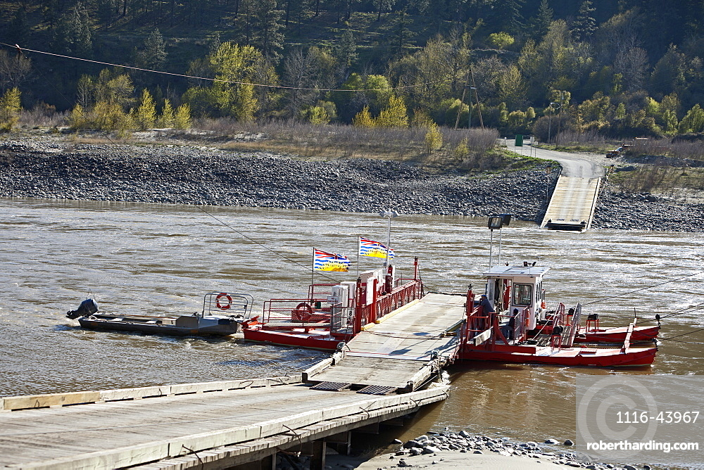 The Lytton Cable Ferry Crossing The Fraser River, North Of Lytton, British Columbia, Canada
