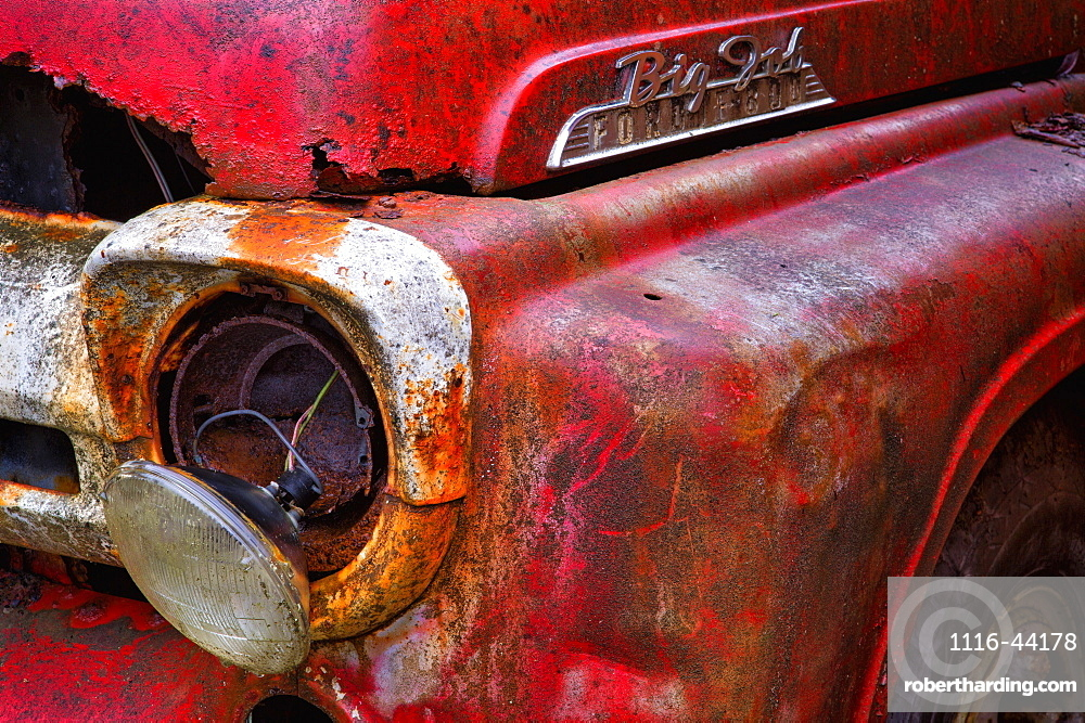 Detail Of Fire Truck That Belonged To Kodiak Volunteer Fire Department, Kodiak, Alaska, United States Of America