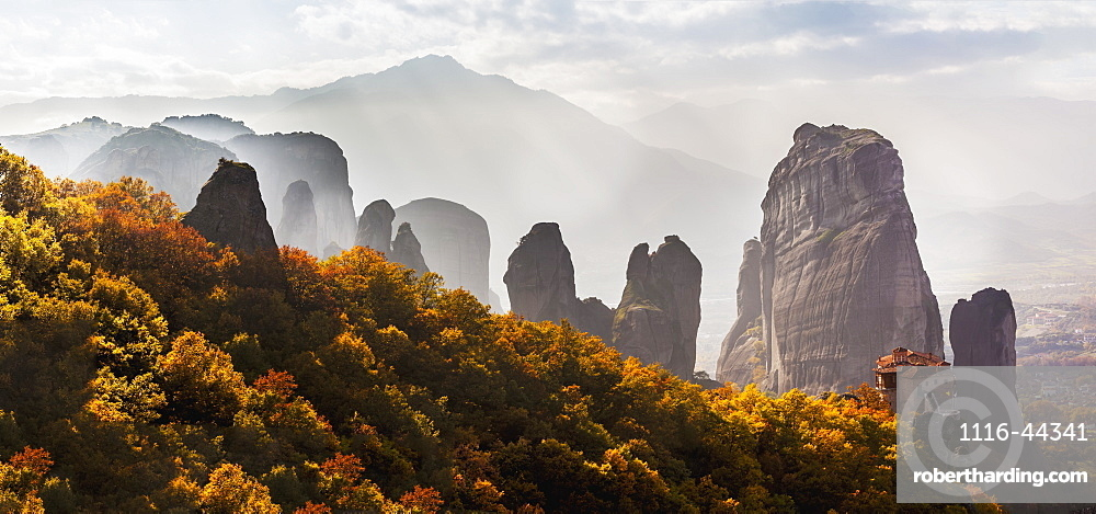 Rugged Cliffs And A Monastery, Meteora, Greece