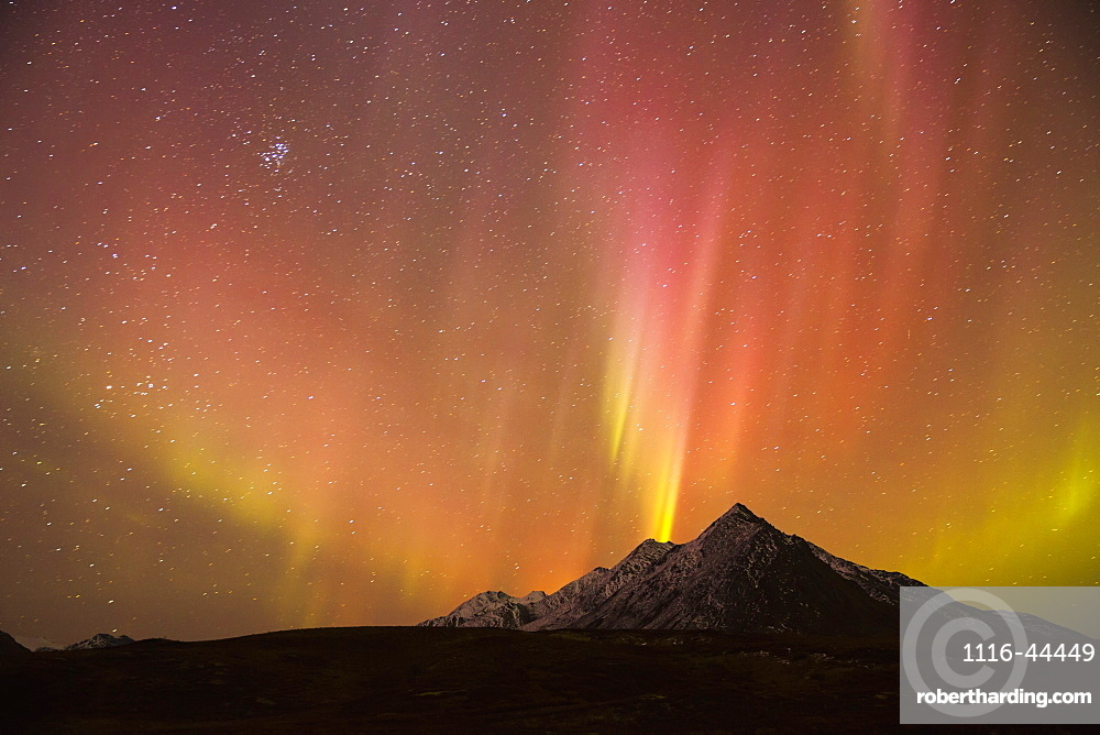The Northern Lights (Aurora Borealis) Over Top Of Angelcomb Peak, Dempster Highway, Yukon, Canada