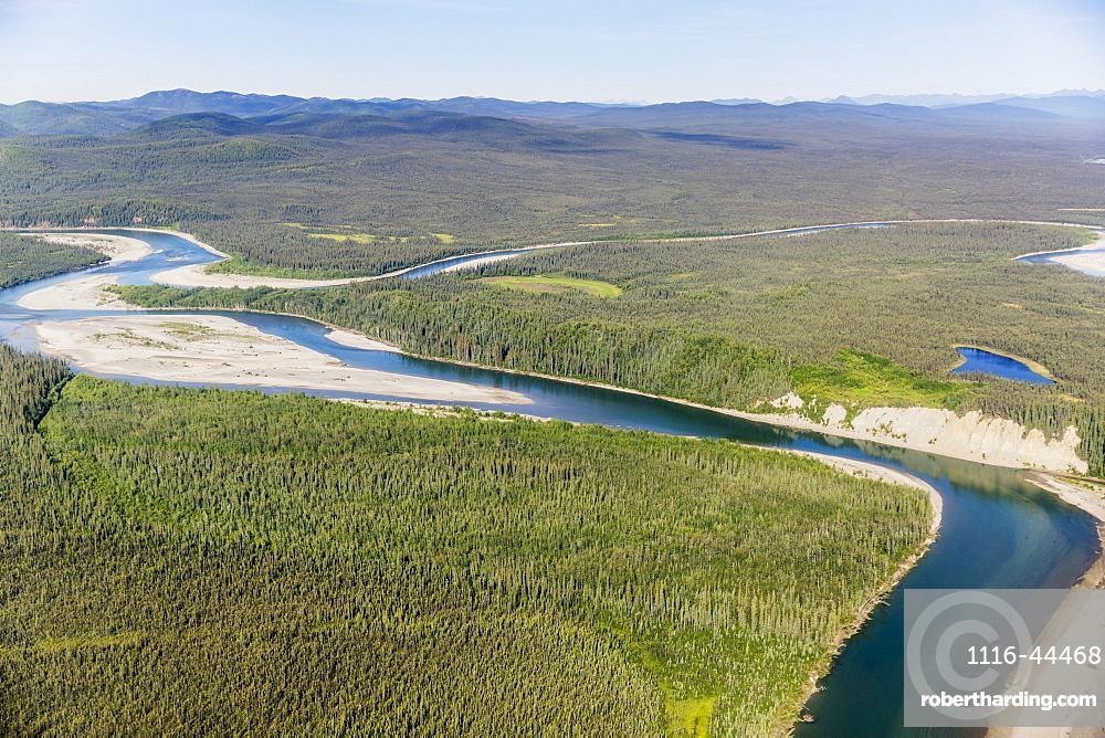Aerial View Of The Foothills Of The Brooks Range Junction Of The Koyukuk And John Rivers, Brooks Range, Alaska, United States Of America