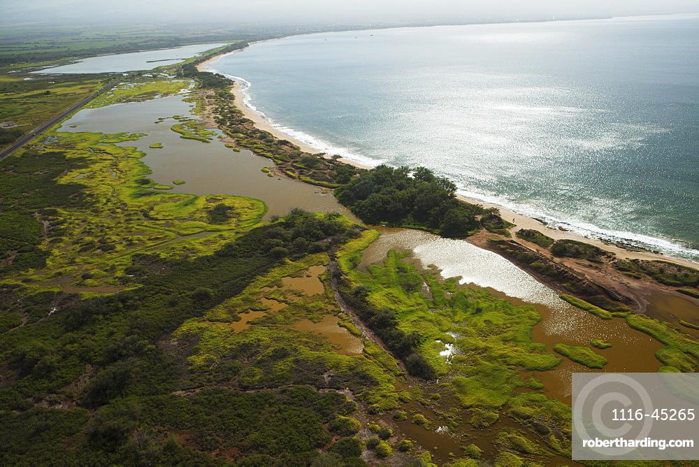 Aerial View Of Kealia Pond National Wildlife Refuge And Brackish Ponds, Home To Endangered Hawaiian Birds, Maui, Hawaii, United States Of America
