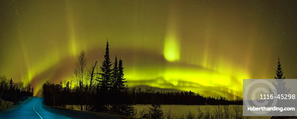Aurora Borealis Over The Road, Thunder Bay, Ontario, Canada