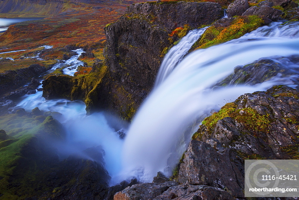 A Large Waterfall That Is Part Of The Dynjand Waterfall On The Westfjords, Iceland