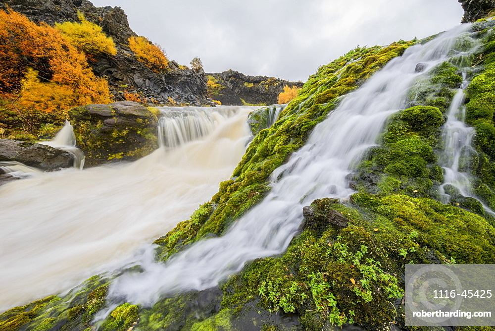 A Group Of Waterfalls Collectively Known As Gjain, Iceland