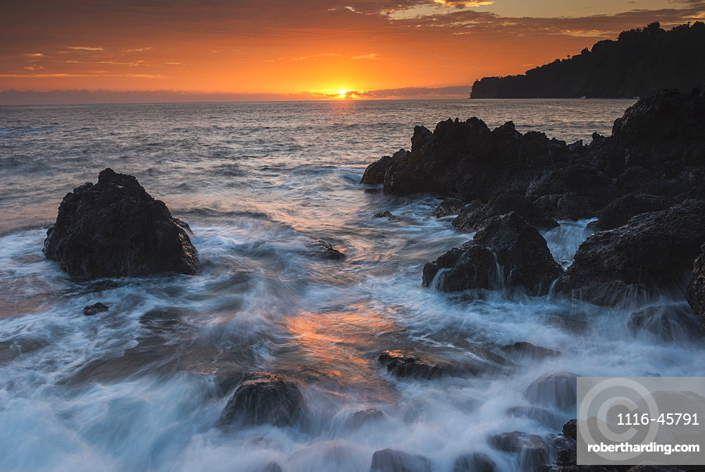 Sunrise And Surf Over Rocks, Hawaii, United States Of America
