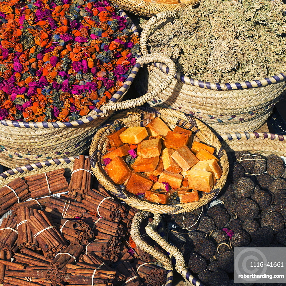 Variety of spices in baskets