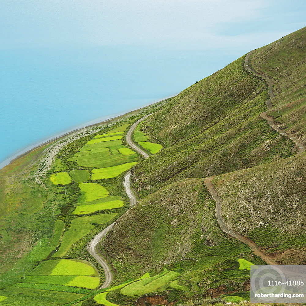 Aerial view of the landscape with fields and a road across the hills, Shannan xizang china