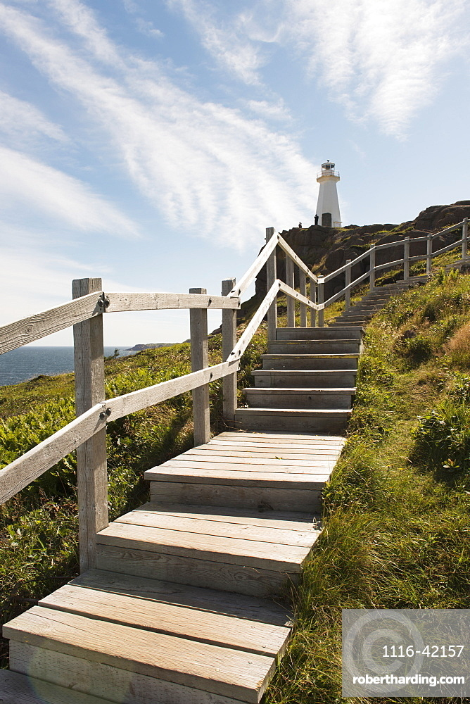 Wooden Steps Leading Up To Cape Spear Lighthouse, St. John's, Newfoundland And Labrador, Canada