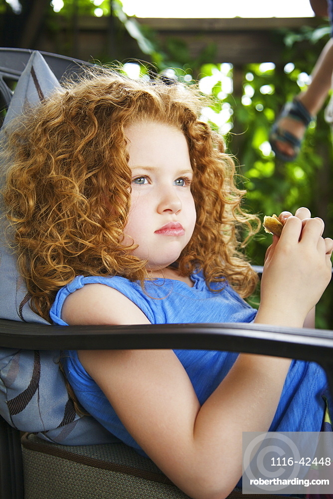 Portrait Of A Young Girl With Red Curly Hair, Guelph, Ontario, Canada