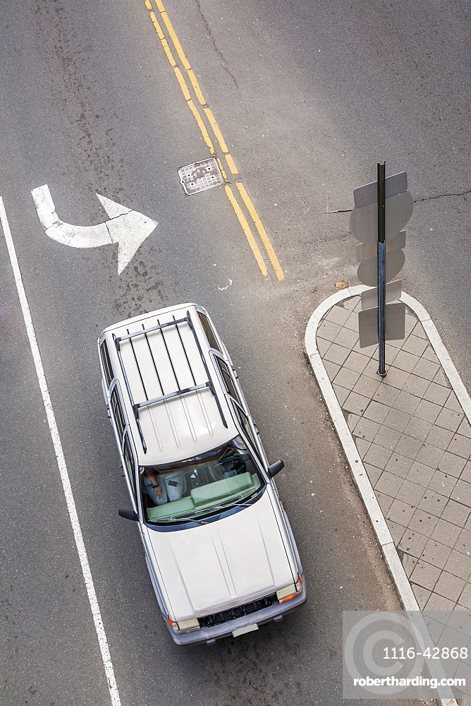 Aerial View Of A Car On The Street In The Turning Lane, Connecticut, United States Of America