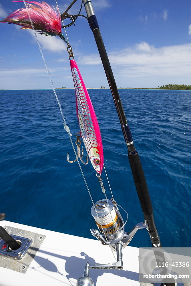 Fishing Rod With Lure On A Boat, Tahiti