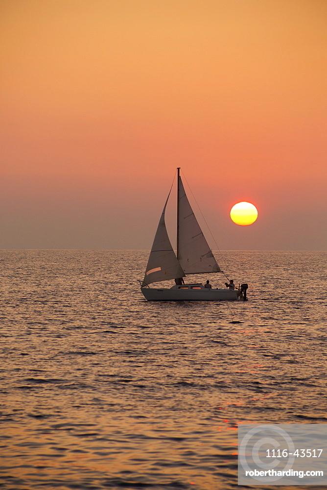 Sailboat Sailing At Sunset, Wailea, Maui, Hawaii, United States Of America