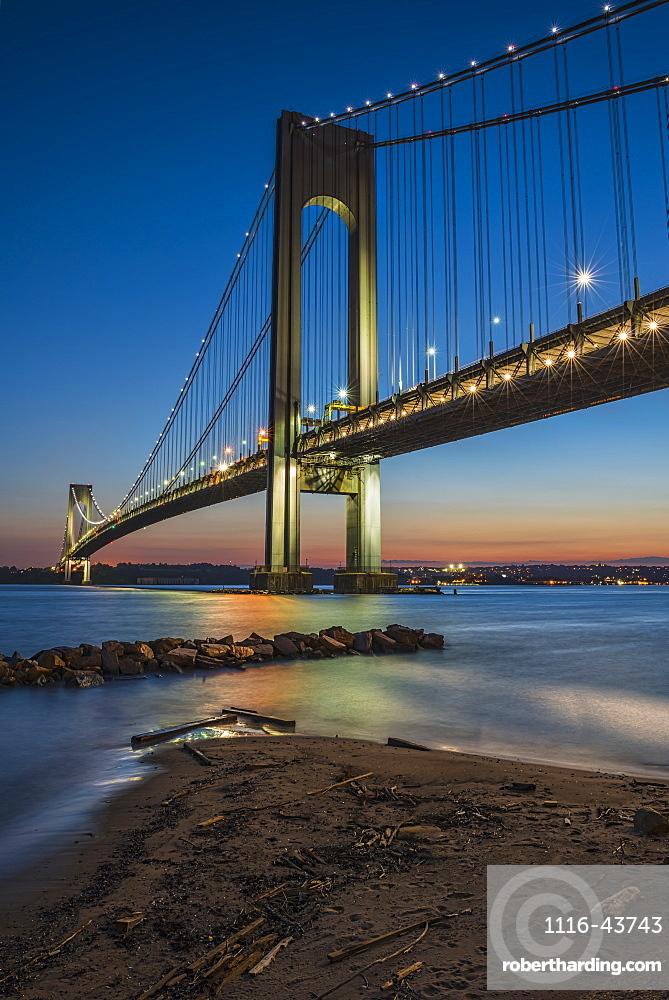 Verrazano-Narrows Bridge At Twilight, Brooklyn, New York, United States Of America