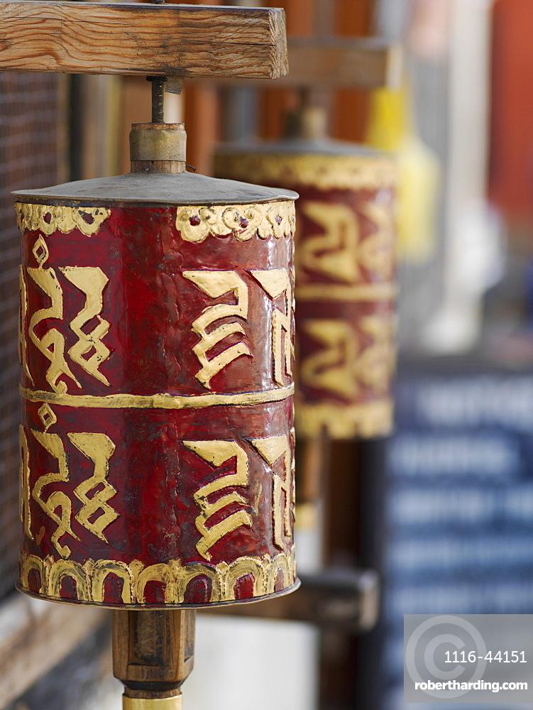 Close Up Of Red And Gold Buddhist Prayer Wheel, Paro, Bhutan