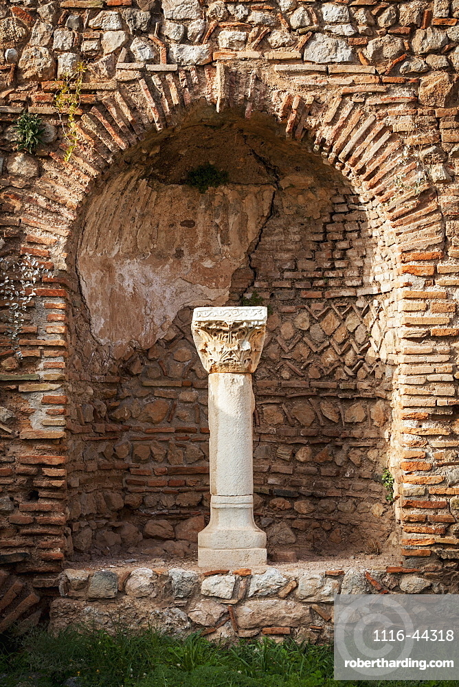 Niche In A Stone Wall With Column And Capitol, Delphi, Greece