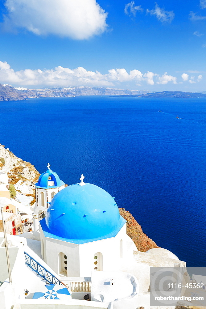 Santorini Island, Greece, Beautiful View Of Blue Ocean And Traditional Dome Church Architecture