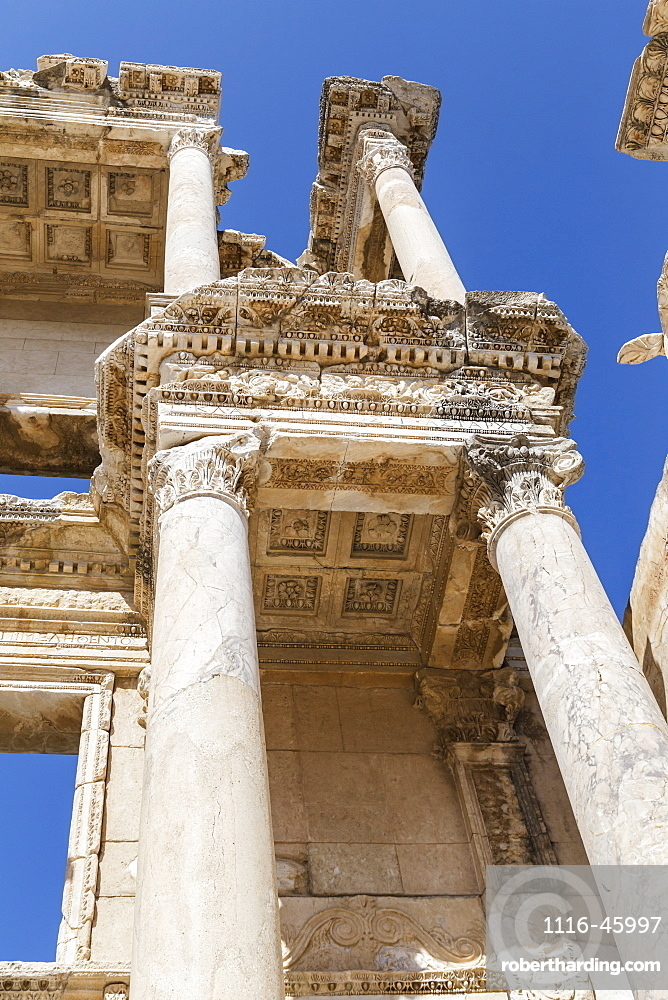 A Close Up Cropped Low Angle View Of The Library Of Celsus At The Ephesus Ancient City Historic Site, Selcuk, Turkey