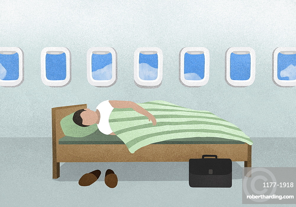 Man sleeping on bed in airplane