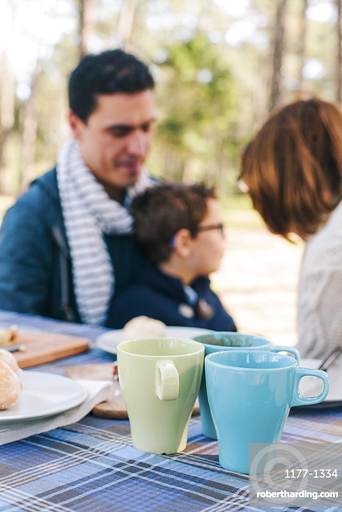 Family sitting at breakfast table in forest
