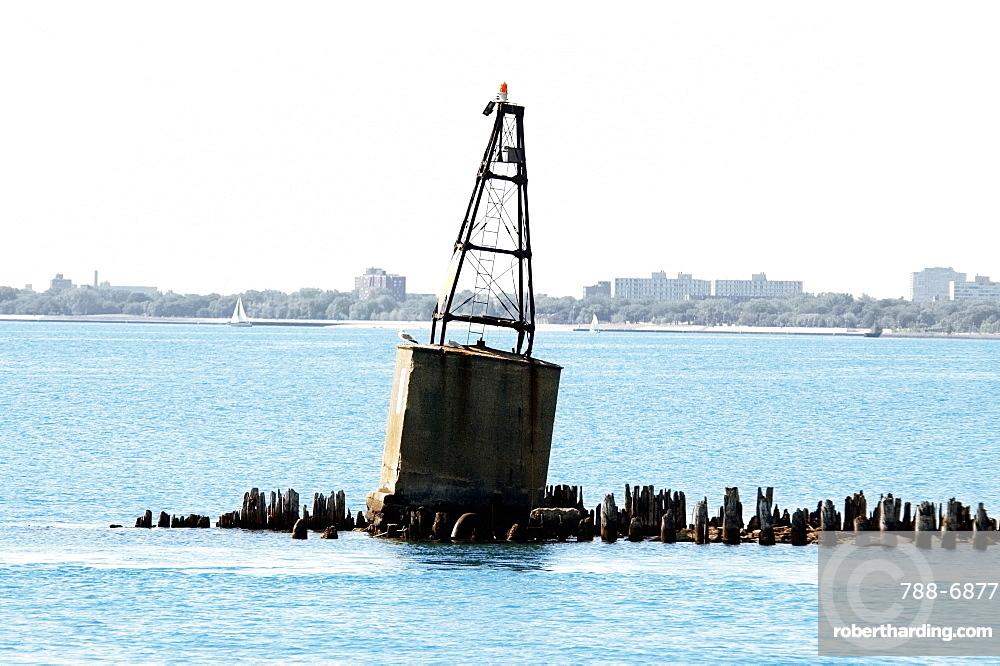 Buoys floating on a lake, Lake Michigan, Chicago, Illinois, USA