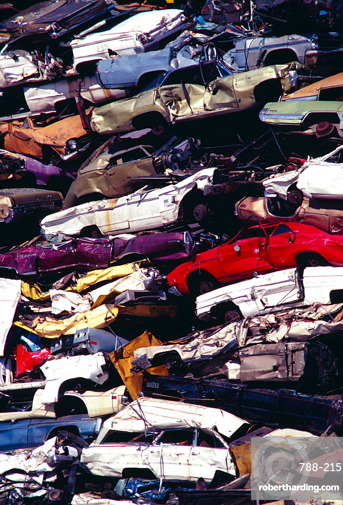Piles of junk cars, Los Angeles, California