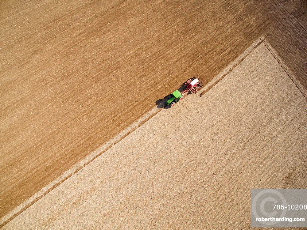 Aerial View Of Tractor Pulling | Stock Photo