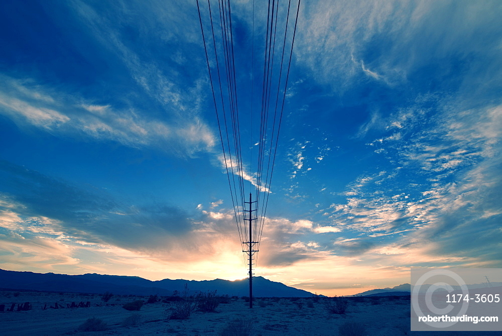 Power lines on poles reaching | Stock Photo