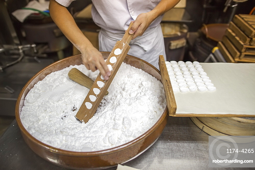 A small artisan producer of wagashi. A woman chef mixing a large bowl of ingredients and pressing the mixed dough into moulds in a commercial kitchen, Japan